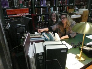 Peg and I (Jennifer) working the science reference desk, Library of Congress.