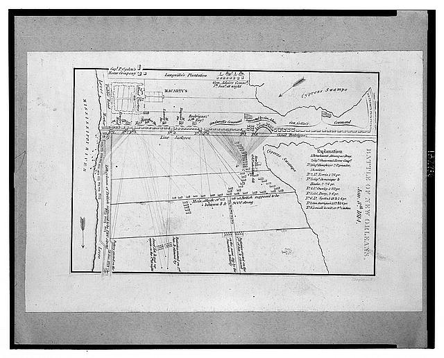 Battle of New Orleans, Jan. 8th 1814 [(i.e., 1815) Print shows a map of the troop alignments during the battle of New Orleans, 1815. //loc.gov/pictures/resource/cph.3c32786/