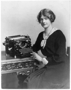 Woman seated with Underwood typewriter. (1918) //hdl.loc.gov/loc.pnp/cph.3b18163