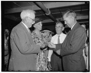 Renowned plant explorer David Fairchild received the Meyer medal for distinguished services in plant introduction from Secretary of Agriculture Henry A. Wallace (1939). Also pictured are Mrs. Fairchild and P.H. Dorsett, retired plant explorer.