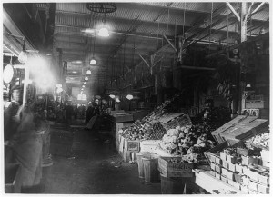 Inside Center Market, ca. 1909-1931.This Center Market was built after the Civil War and torn down in 1931. The National Archives is on the site today. National Photo Company Collection, Prints and Photographs Division, Library of Congress