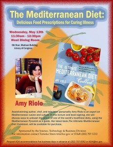 "LC Flyer for ""The Mediterranean Diet"" book talk with Amy Riolo on May 13, 2015."