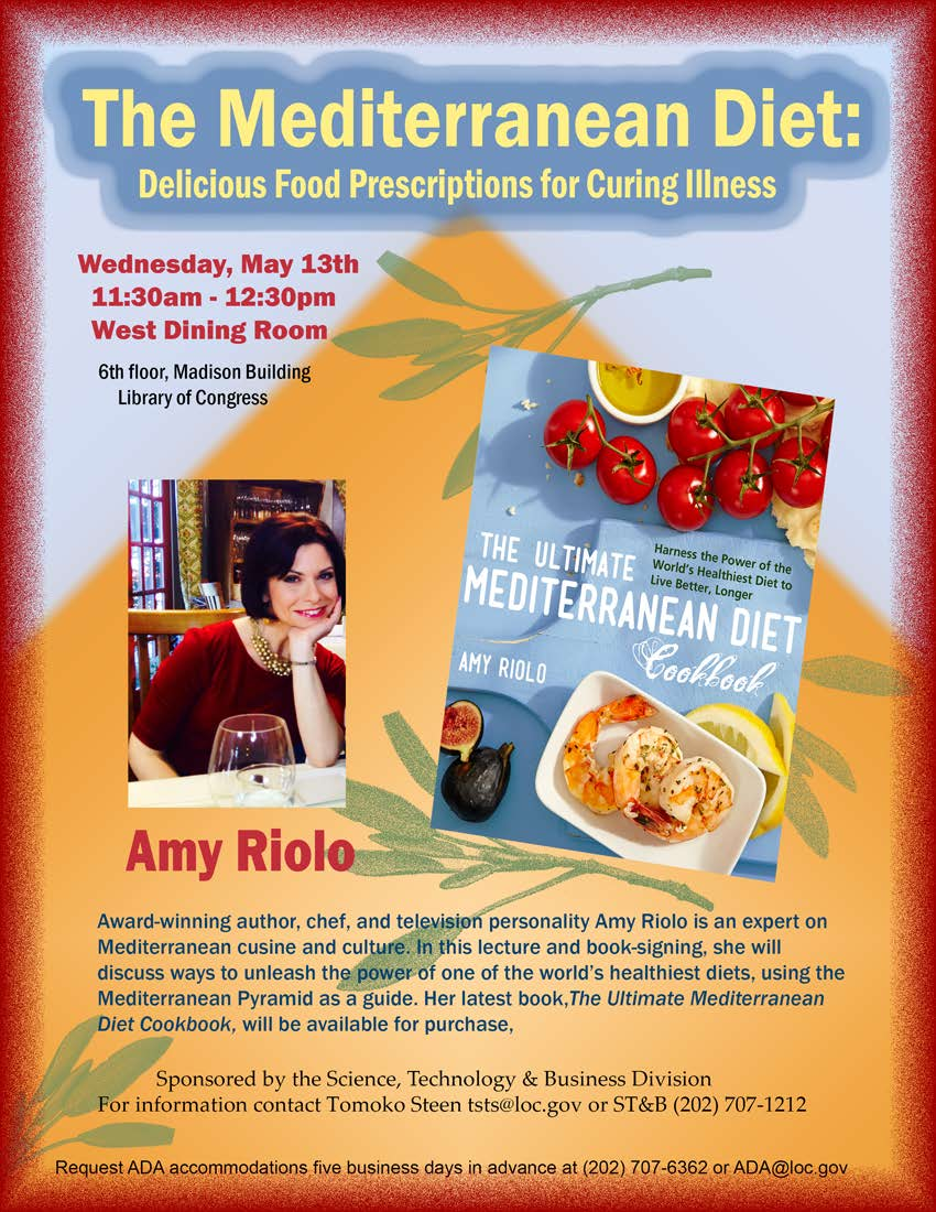 LC Flyer For The Mediterranean Diet Book Talk With Amy Riolo On May 13