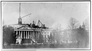 East Front of Capitol Dome under Construction at the Intersection of North, South, & East Capitol Streets & Capitol Mall. From Historic American Buildings Survey. //www.loc.gov/pictures/item/dc0253.photos.025929p/