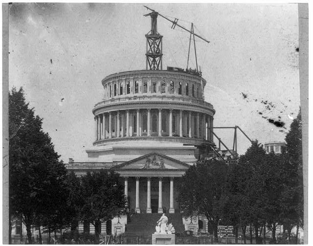 Capitol Dome under construction. May 1861. //www.loc.gov/pictures/item/2009631449/