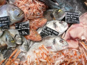 Seafood at a market in Rome, Italy. Photo credit: John F. Buydos, March 2015.