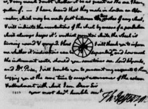 Thomas Jefferson included this drawing of an odometer mounted on a carriage wheel in his letter to Benjamin Vaughan, July 23, 1788. Thomas Jefferson Papers, Manuscript Division, Library of Congress. Detail from page 6.