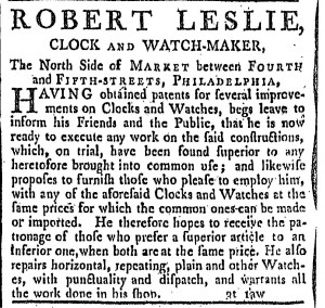 Robert Leslie's advertisement in the Federal Gazette and Philadelphia Evening Post, February 26, 1790.