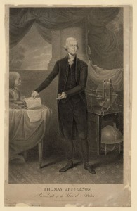 Portrait of Thomas Jefferson with Declaration of Independence and scientific instruments. Engraving by Cornelius Tiebout, after a painting by Rembrandt Peale, ca. 1801. Prints and Photographs Division, Library of Congress.