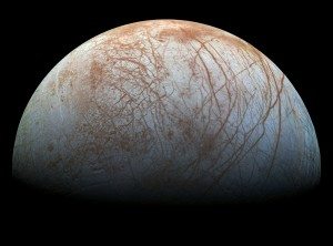Jupiter's icy moon Europa. This newly-reprocessed color view was made from images taken by NASA's Galileo spacecraft in the late 1990s. Source: NASA/JPL-Caltech/SETI Institute