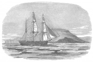 Illustration of the  H.M.S. Investigator. From The Illustrated London News, Oct. 29, 1853.