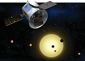 Artist's conception of TESS (Transiting Exoplanet Survey Satellite). Image from NASA GSFC TESS website http://tess.gsfc.nasa.gov/overview.html.