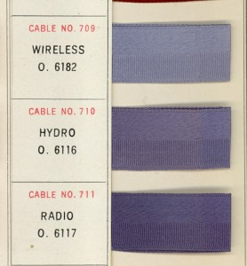 Wireless, Hydro, and Radio ribbons from the TCCA color card, Fall 1921.