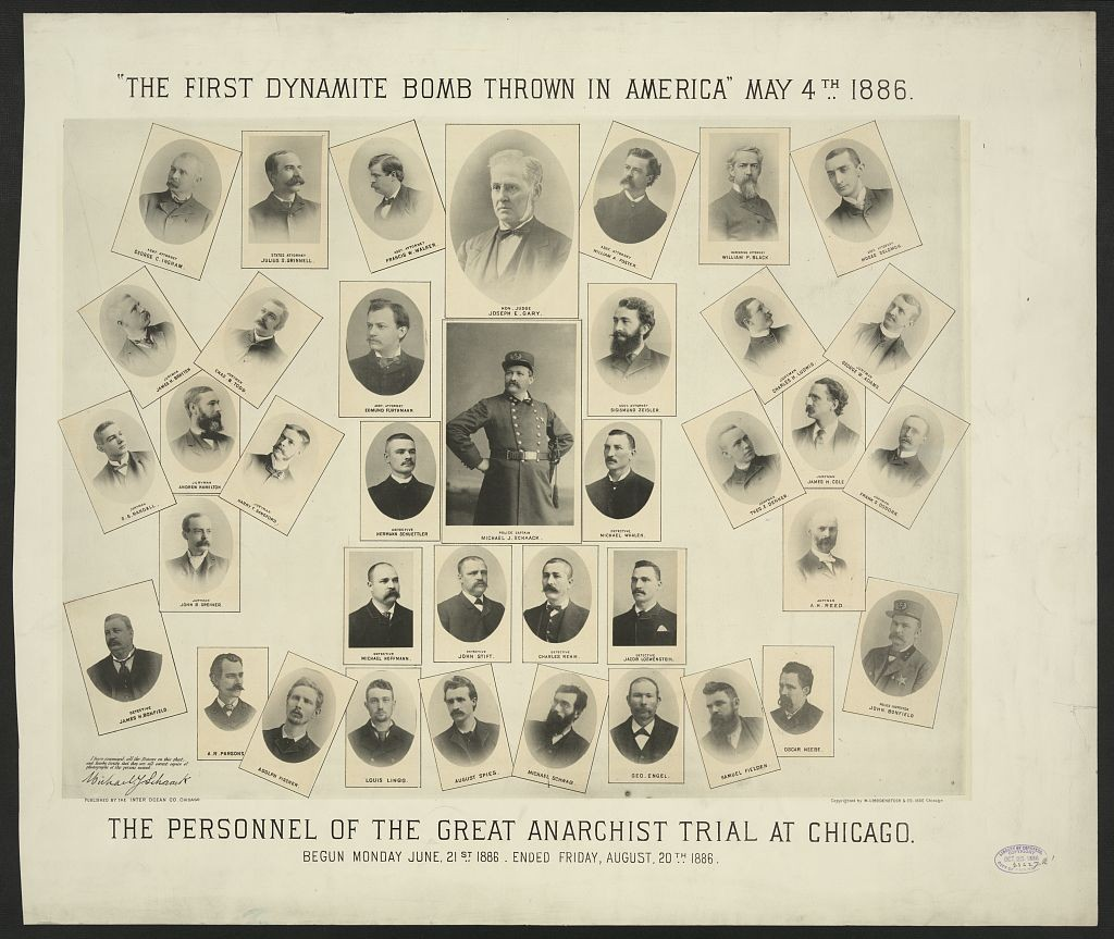 """The first dynamite bomb thrown in America"" May 4th, 1886. The personnel of the great anarchist trial at Chicago. Begun Monday June 21st 1886. Ended Friday, August 20th 1886 //www.loc.gov/resource/ppmsca.19510/"