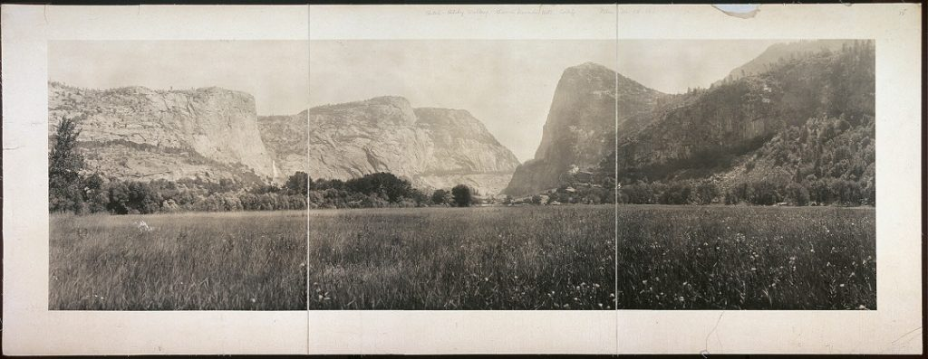 Panoramic photograph of Hetch Hetchy Valley, within Yosemite National Park. The damming of the Hetch Hetchy Valley helped justify the creation of the National Park Service in 1916 by raising public awareness about the importance of preserving nature. Library of Congress Prints and Photographs Division, Washington, D.C. //hdl.loc.gov/loc.pnp/pan.6a19572