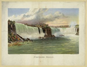 Print showing view of Niagara Falls from river below. McFarland successfully defended Niagara Falls from power company interest resulting in a resolution signed by President William Howard Taft on May 4, 1910. Library of Congress Prints and Photographs Division, Washington, D.C. //hdl.loc.gov/loc.pnp/pga.03251