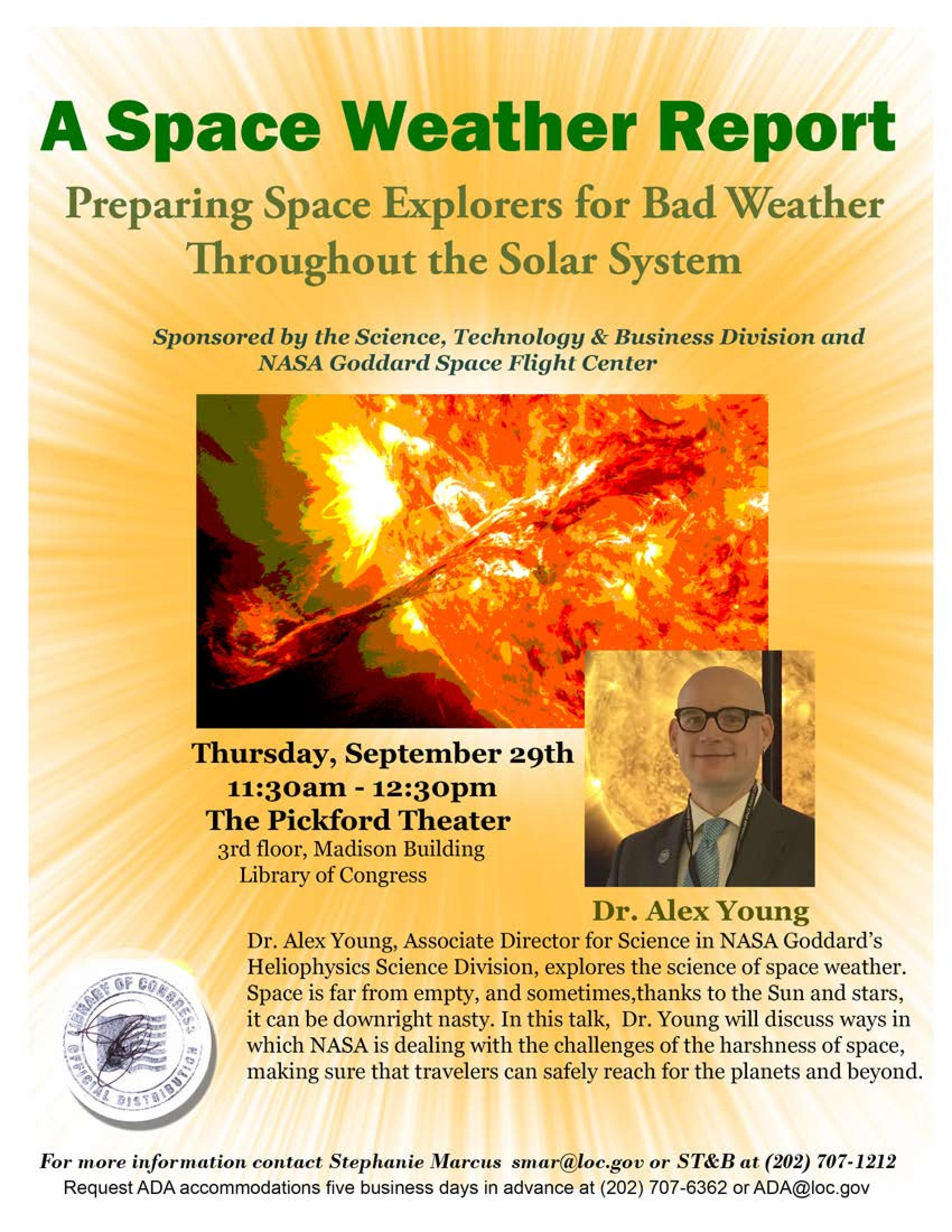 report space weather Space weather describes conditions in space that can have an effect on earth.