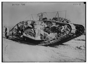 British tank at the Battle of Flers-Courcelette, in the Somme, France on September 15, 1916 during World War I. George Grantham Bain Collection (1916) //hdl.loc.gov/loc.pnp/ggbain.25225