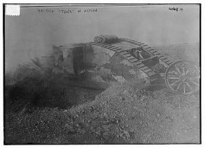 A William Ivor Castle's photograph of a British tank during World War I. (1916) George Grantham Bain Collection. //hdl.loc.gov/loc.pnp/ggbain.23337
