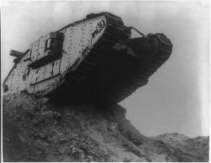 British tank crossing rough terrain during the battle of Cambrai in France. (1917?) //hdl.loc.gov/loc.pnp/cph.3a23758