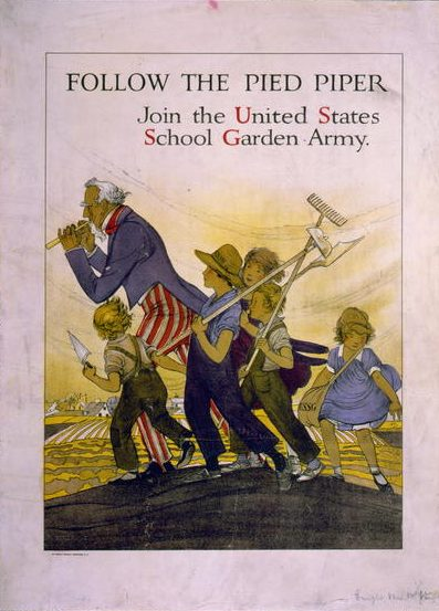 Uncle Sam as the Pied Piper being followed by children carrying gardening equipment