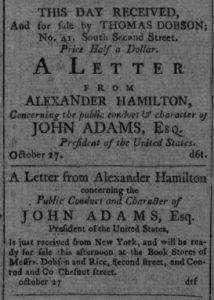 Advertisement from the Gazette of the United States, & Daily Advertiser, October 29, 1800. //chroniclingamerica.loc.gov/lccn/sn84026272/1800-10-29/ed-1/seq-2/