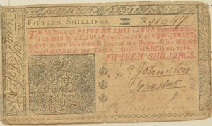 fifteen shilling note from 1776