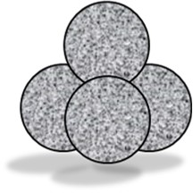 Four spheres arranged so each is touching the other three.