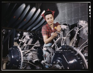 Palmer, Alfred T., photographer. Woman working on an airplane motor at North American Aviation, Inc., plant in Calif. 1942 June. Prints and Photographs LC-USW361-142.