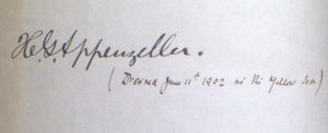 Signature of Henry G. Appenzeller (1858 –1902). Asian Division.