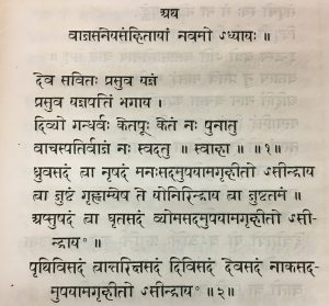Figures 4-7 – Weber's dissertation focused on 34 verses from the Yajur Veda. He first reproduced the Sanskrit text in Devanagari script (upper left) and provided its Romanization (upper right). He translated the text into Latin (lower right) and supplied commentary and additional references in the endnotes. Asian Division.