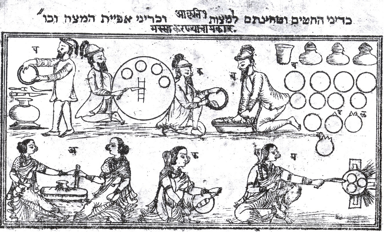A Passover scene of women baking matzah. Haggadah from Poona, India, 1874. Prepared and published by Moses Jacob Talker and Aaron David Talker.