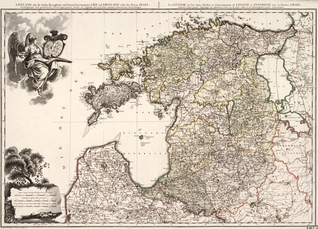 1798 map of the Duchies of Livonia and Estonia, showing parts of Couland.