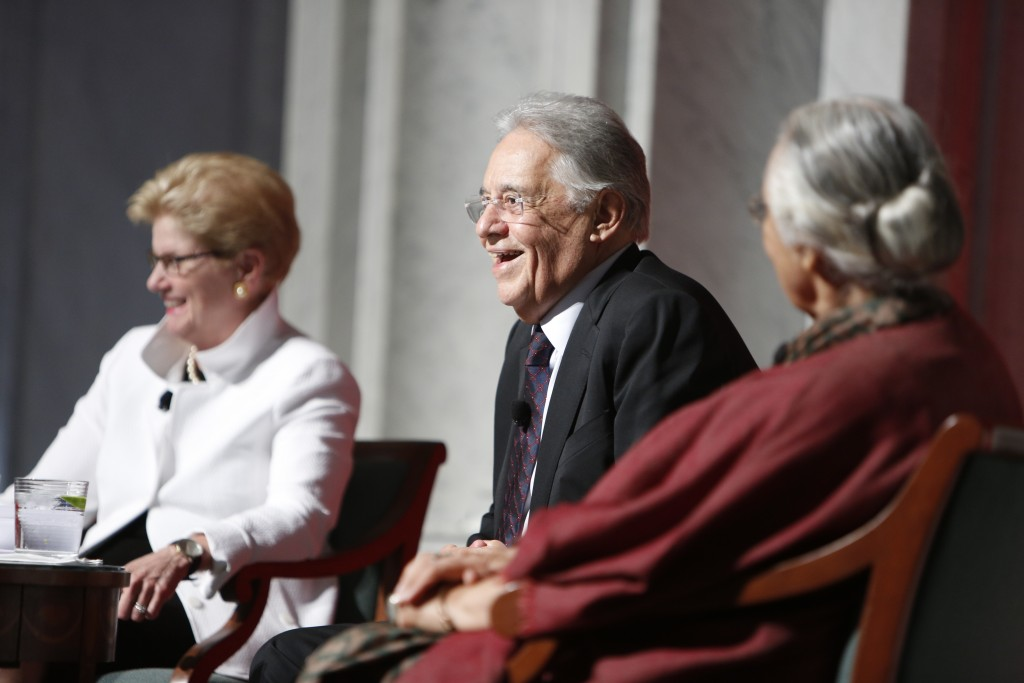 Former Brazilian President Fernando Henrique Cardoso speaks during a discussion with Kluge Center Director Jane McAuliffe and Indian historian Romila Thapar to kick off the Scholarfest gala, June 10, 2015. Photo by Shawn Miller.