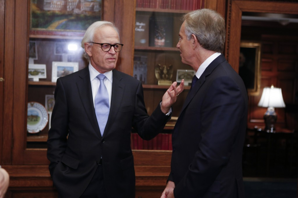 Moderator Martin S. Indyk and former Prime MInister of Great Britain and Northern Ireland Tony Blair meet in the Ceremonial Office prior to the Kissinger Lecture Series event in the Great Hall, December 3, 2015. Photo by Shawn Miller.