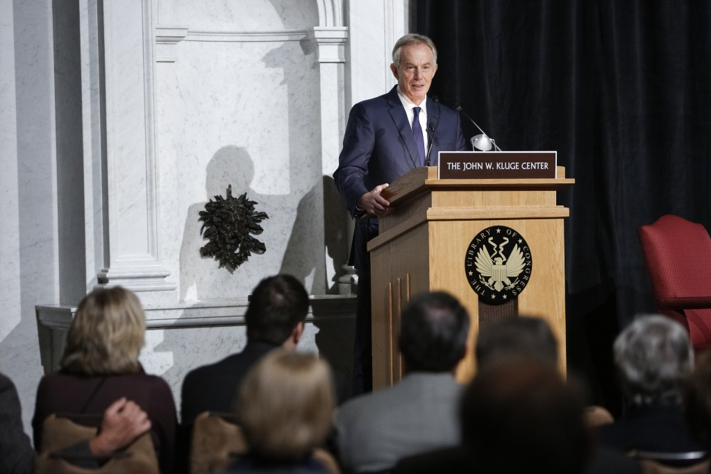 Former Prime Minister of Great Britain and Northern Ireland Tony Blair delivers an address on defeating Islamist extremism as part of the Henry Alfred Kissinger Lecture Series in the Great Hall, December 3, 2015. Photo by Shawn Miller.