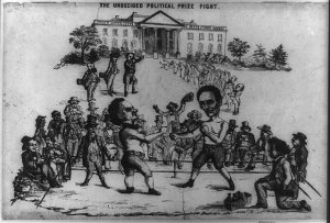 pro-Breckinridge satire on the 1860 presidential contest. Republican candidate Abraham Lincoln (right) and Democrat Stephen A. Douglas (left) appear as boxers squaring off in a ring before a small crowd of onlookers.