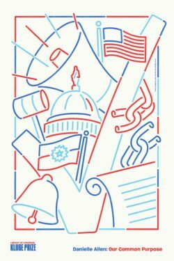 A poster featuring drawn images of symbols from American life and history.