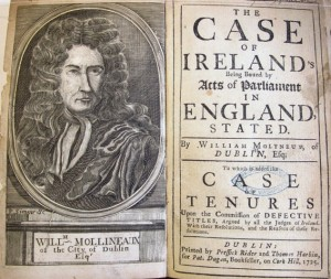The case of Ireland's being bound by acts of Parliament in England.