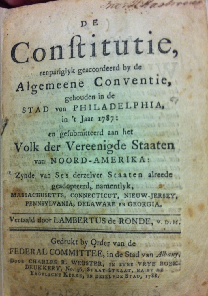 Dutch Translation of the U.S. Constitution from 1788