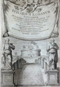 "This book, entitled ""Bullarium Romanum novissimum"" [New Roman Papal Bulls], from 1638, contains a collection of papal documents from Leo I (440-461) until Urban VIII (1623-1644)."