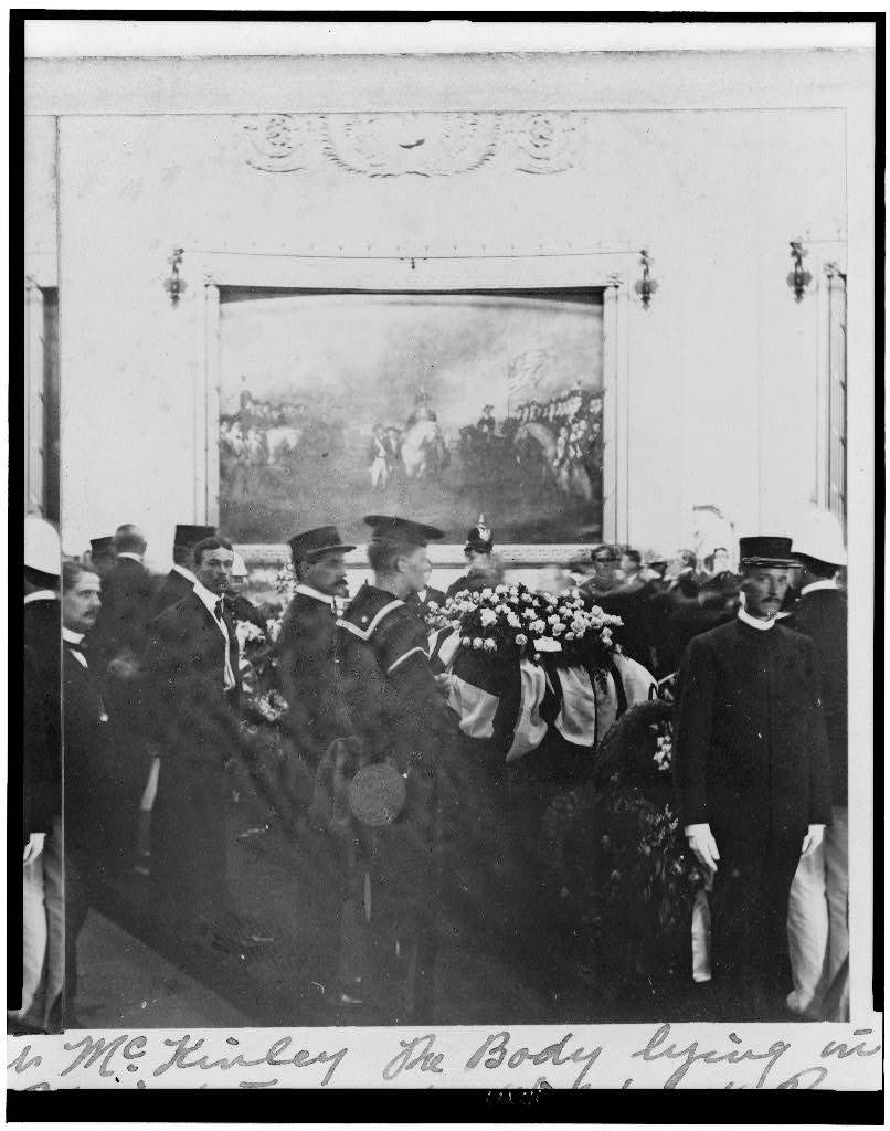 President McKinley lying in state in the Capitol Rotunda, September 1901.