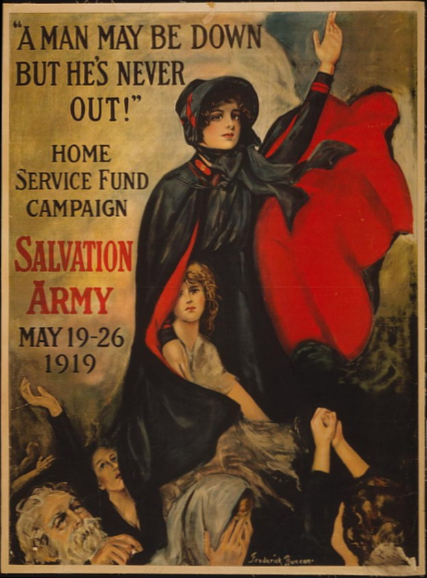 """A man may be down but he's never out!"" Home Service Fund Campaign - Salvation Army - May 19-26, 1919, courtesy of the Library of Congress Prints and Photographs Division"