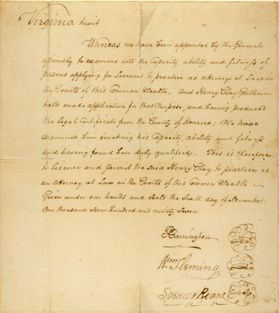 Henry Clay's Law License