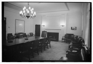 """Interior, city council, 1st floor - Schenectady City Hall, 100 Jay Street, Schenectady, Schenectady County, NY"" courtesy of the Prints and Photographs Division, Library of Congress"