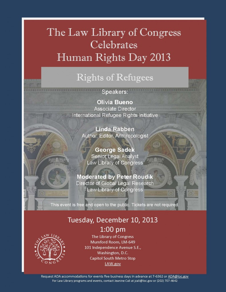 2013 Human Rights Day Program Flyer. Law Library of Congress