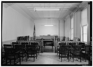 INTERIOR, FIRST FLOOR, GENERAL VIEW OF SMALLER COURTROOM - Orange County Courthouse, Second & Grand Streets, Newburgh, Orange County, NY