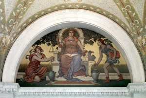 [Lobby to Main Reading Room. Good Legislation mural by Elihu Vedder. Library of Congress Thomas Jefferson Building, Washington, D.C.]