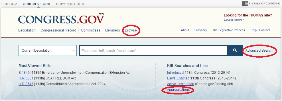 Advanced Search, Browse, and Appropriations from the Congress.gov Homepage