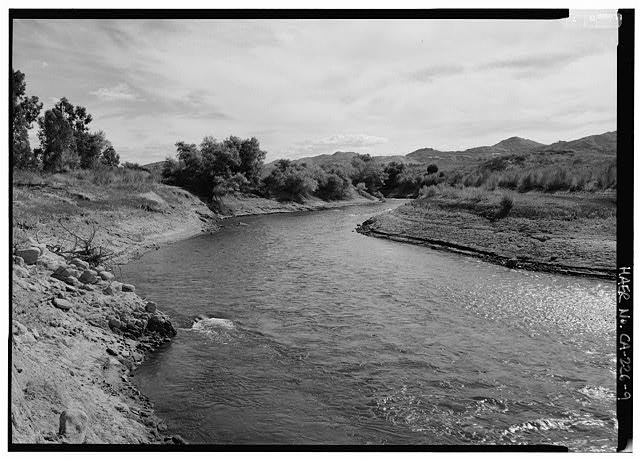 "Colorado River Aqueduct, From Colorado River to Lake Mathews, Parker Dam, San Bernardino County, CA. (""Intake stream on ground looking west as it flows downstream to Lake Mathews, all water coming from pumps."") (Jet Lowe, 1998.) Library of Congress Prints and Photographs Division, //hdl.loc.gov/loc.pnp/hhh.ca2472/photos.382971p."